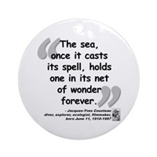 Cousteau Sea Quote Ornament (Round)