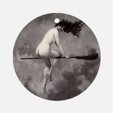 Vintage Nude Witch Ornament (Round)