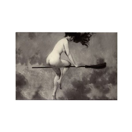 Vintage Nude Witch Rectangle Magnet