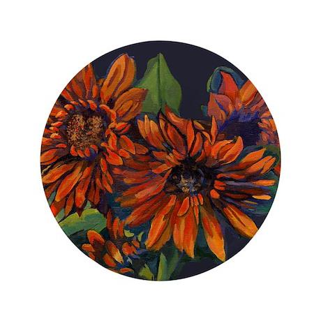 """Flowers For Vincent (black) 3.5"""" Button"""