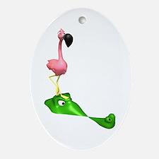 Flamingo & Gator Ornament (Oval)