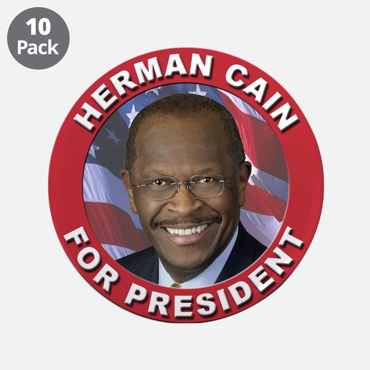 """Herman Cain for President 3.5"""" Button (10 pack)"""