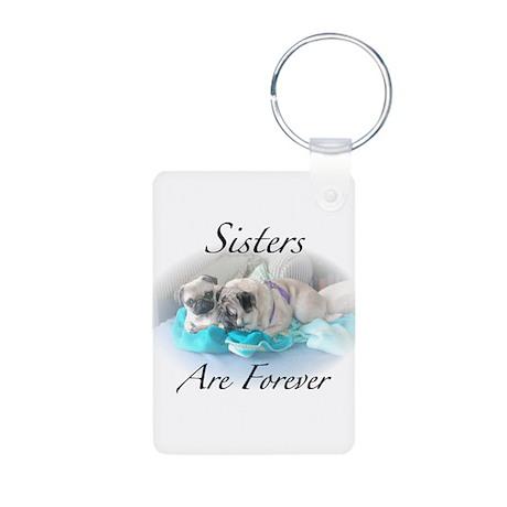 Sister pugs Aluminum Photo Keychain
