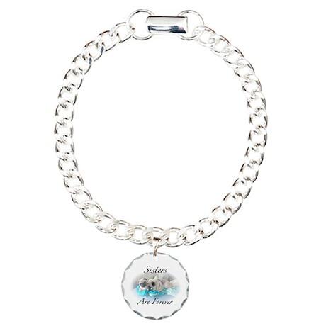 Sister pugs Charm Bracelet, One Charm