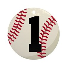 Baseball Player Number 1 Team Ornament (Round)