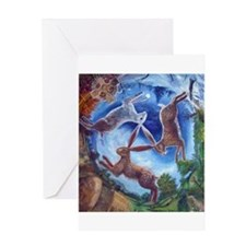 Three Hares Greeting Card