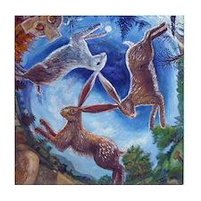 Three Hares Tile Coaster