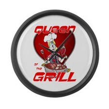 Queen of the Grill-White Large Wall Clock