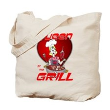 Queen of the Grill-White Tote Bag