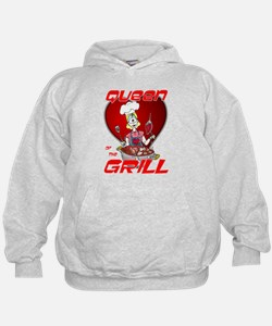Queen of the Grill-White Hoodie
