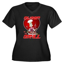 Queen of the Grill-White Women's Plus Size V-Neck