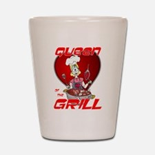 Queen of the Grill-White Shot Glass