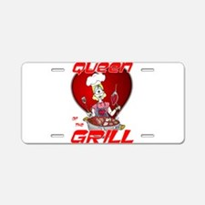 Queen of the Grill-White Aluminum License Plate