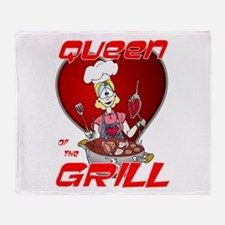 Queen of the Grill-White Throw Blanket