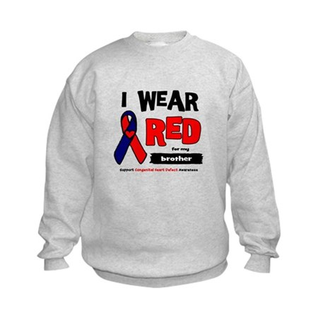 I wear red for my brother Kids Sweatshirt