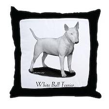 White Bull Terrier Throw Pillow