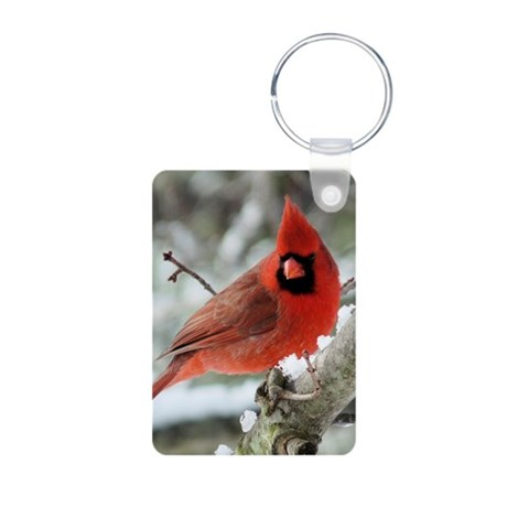 Cardinal Winter Aluminum Photo Keychain
