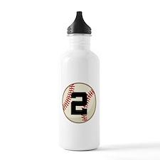 Baseball Player Number 2 Team Water Bottle