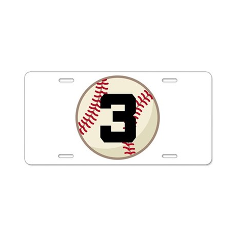 Baseball Player Number 3 Team Aluminum License Pla