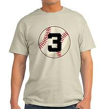Baseball Player Number 3 Team T-Shirt