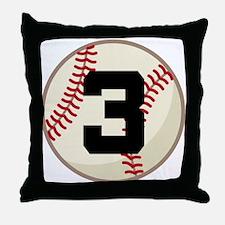 Baseball Player Number 3 Team Throw Pillow