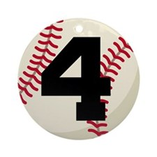 Baseball Player Number 4 Team Ornament (Round)