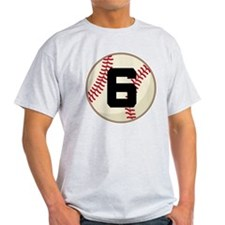 Baseball Player Number 6 Team T-Shirt