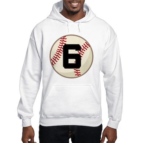 Baseball Player Number 6 Team Hooded Sweatshirt