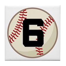 Baseball Player Number 6 Team Tile Coaster