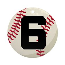 Baseball Player Number 6 Team Ornament (Round)