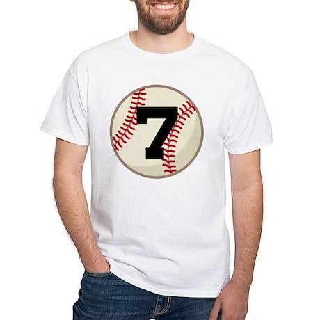 Baseball Player Number 7 Team White T-Shirt