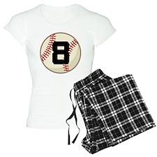 Baseball Player Number 8 Team Pajamas