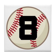 Baseball Player Number 8 Team Tile Coaster