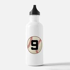 Baseball Player Number 9 Team Water Bottle