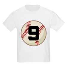 Baseball Player Number 9 Team T-Shirt