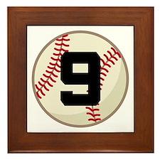 Baseball Player Number 9 Team Framed Tile