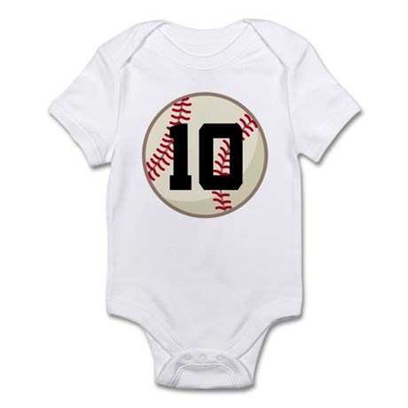 Baseball Player Number 10 Team Infant Bodysuit