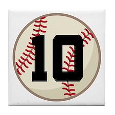 Baseball Player Number 10 Team Tile Coaster