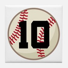 Baseball Player Number 10 Team Tile Coaster