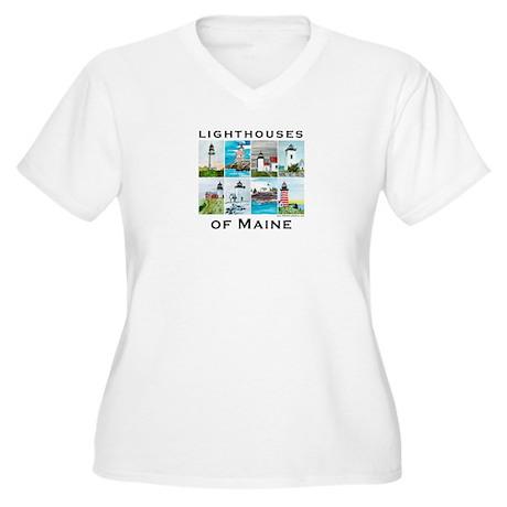 Lighthouses of Maine 2 Women's Plus Size V-Neck T-