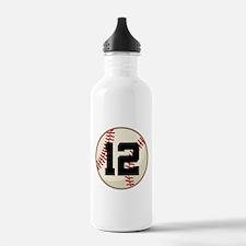 Baseball Player Number 12 Team Water Bottle