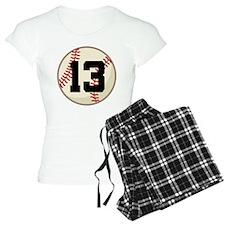 Baseball Player Number 13 Team Pajamas