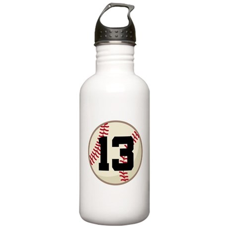 Baseball Player Number 13 Team Stainless Water Bot
