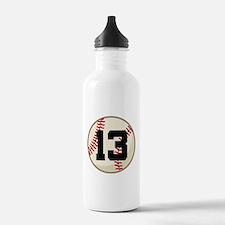 Baseball Player Number 13 Team Water Bottle