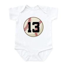 Baseball Player Number 13 Team Infant Bodysuit