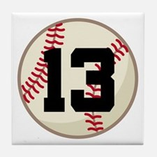 Baseball Player Number 13 Team Tile Coaster