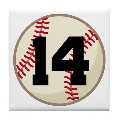 Baseball Player Number 14 Team Tile Coaster