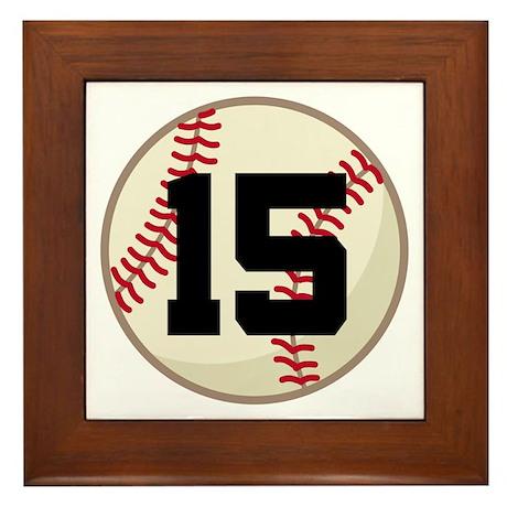 Baseball Player Number 15 Team Framed Tile