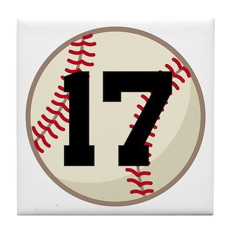 Baseball Player Number 17 Team Tile Coaster
