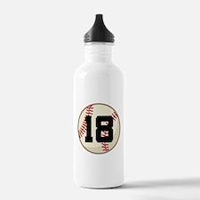 Baseball Player Number 18 Team Water Bottle